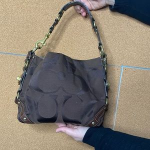 Coach Signature C dark brown purse